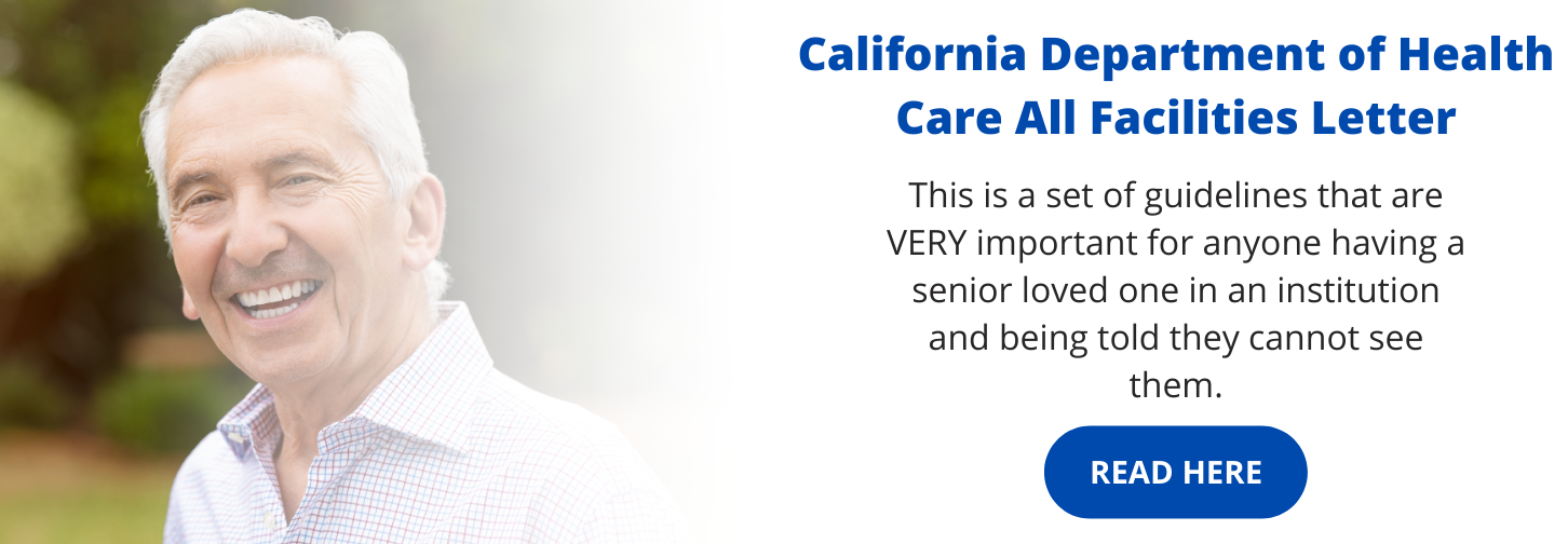 California Department of Healthcare All Facilities Letter graphic featuring an elder man smiling.