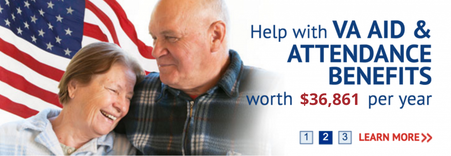 Graphic of a US Flag and an elderly couple smiling. Text stating VA Aid & Attendance Benefits worth $36,861 per year